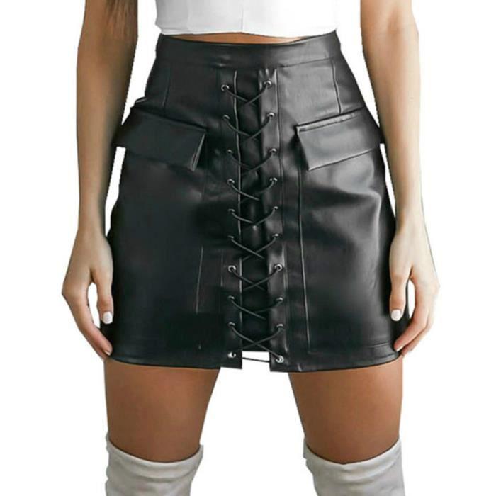 644f7dfbe26b9 Wonder Beauty® Femme Cuir PVC Latex Wetlook Mini-Jupe Taille Haute Une  Ligne Court Mini Suède Jupes