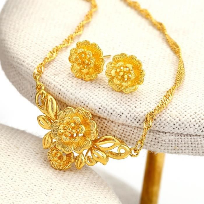 Délicat nuptiale bijoux fixe 18k or jaune plaqué femmes fleur pendentif + boucles doreilles ensembles