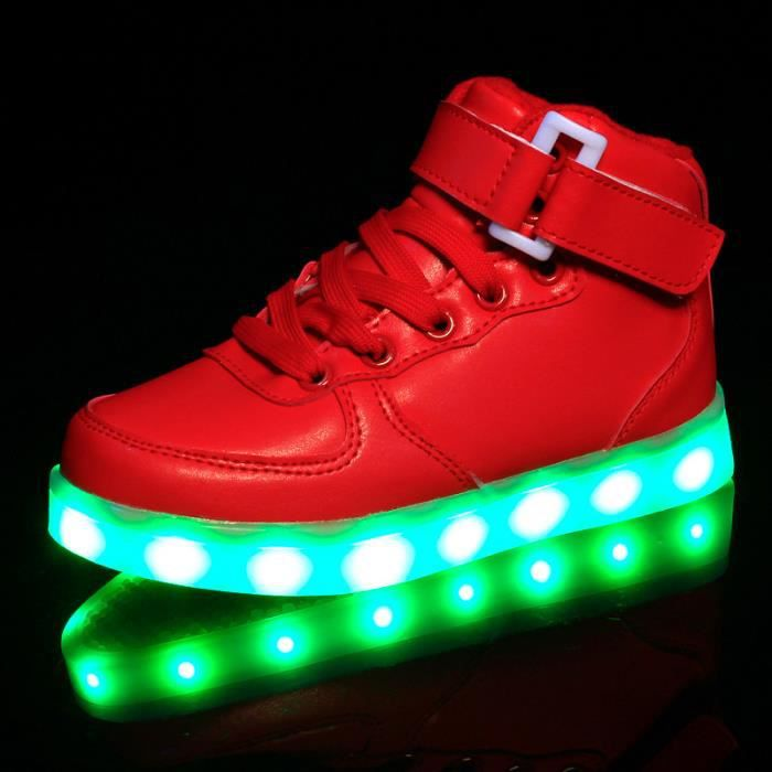 Femmes 7 Couleur Andult USB Charge LED Hommes Chaussure Lumineuse Baskets Rouge