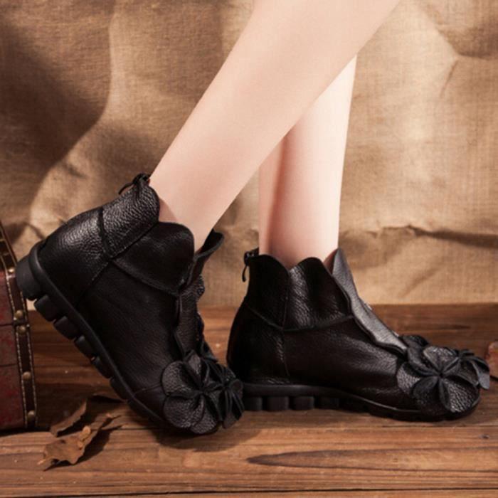 Chaussures Main Style Ethnique En Fleurs Cuir Bottes Femmes Cousu 6799 Décontractée Martin RrwtRTq