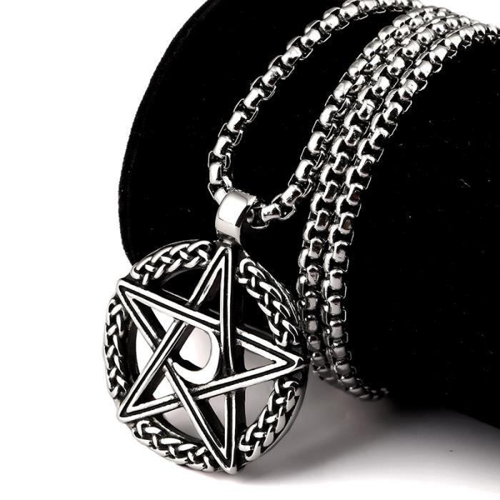 X-DRAGON® Hip Hop Chaîne Collier Plaqué Argent Moon Star Pendentif Bijoux