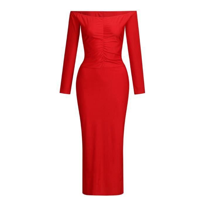 Col En Sexy Cou Slash Mode V Longues Robe Casual Manches Femmes Longue Rouge Tight Soild xHq0IA8w