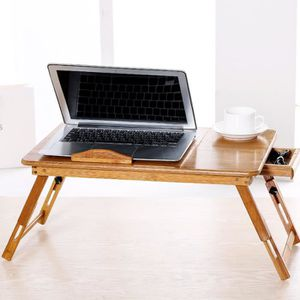 MEUBLE INFORMATIQUE Table d'ordinateur Pliant en bambou Avec Tiroir po