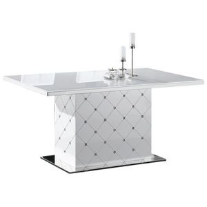 Table De Salle A Manger Capitonnee Blanche Laquee Strass Achat