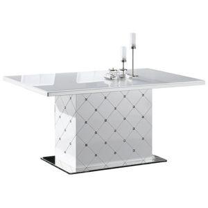 Table de salle à manger capitonnée blanche laquée \