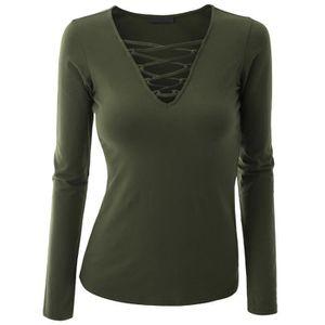 12ea6138342e T-shirt Femmes Manche Longue en Coton Couleur Unie V-col Bander Slim ...