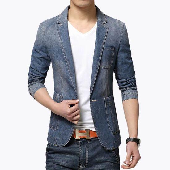 Complet xl veston En Vêtements Jean Costume Casual Printemps De bleu Veste Tailleur Col Homme l'été q8S6TZxzn