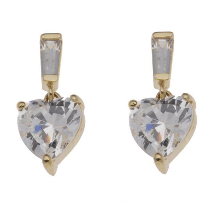 H. Gaventa Ltd - E - 10476 - Boucles Doreilles Pendantes Femme - Coeur - Or Jaune (9 Cts) 0.5 Gr - Oxyde De Zirconium 1.3 Cts SBZ6B