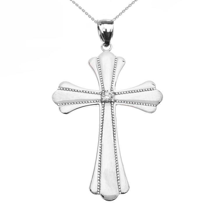 Collier Femme Pendentif 10 Ct Or Blanc Solitaire Diamant Poli Élevé Milgrain Croix (Large) (Livré avec une 45cm Chaîne)
