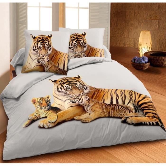 drap housse tigre Parure housse de couette 100% coton   Un Amour de Tigre 140 x 200  drap housse tigre