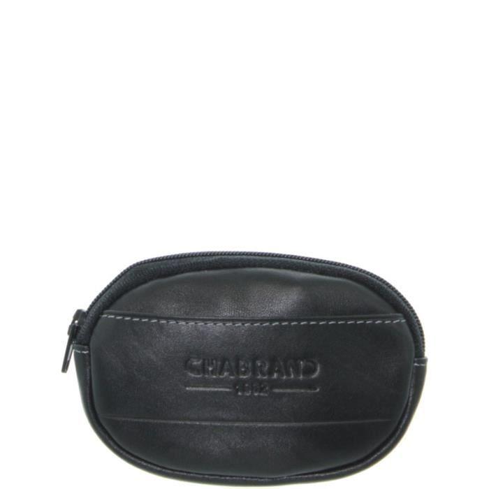 Porte-monnaie ovale Chabrand en cuir noir EmyWHa
