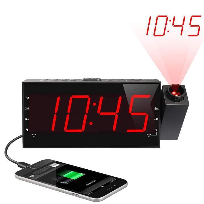 Radio Réveil De Projection, Alarme Numérique Fm Luminosité Réglable Led Affichage; Minuterie Sommeil, Recharge Usb
