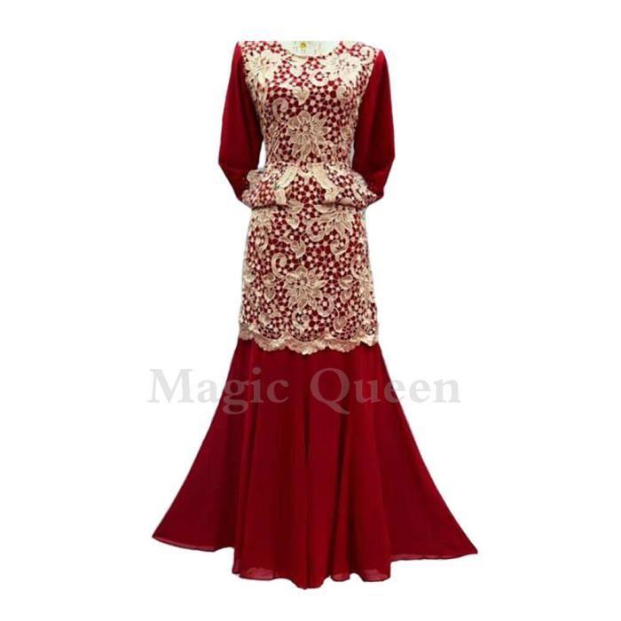 robe femme caftan unie au crochet en chiffon-longue