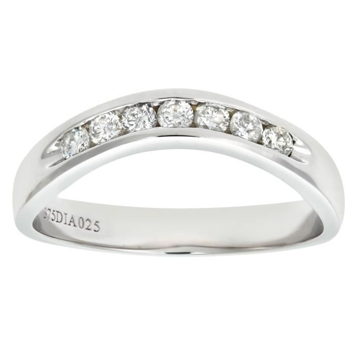Revoni Bague alliance Diamant Or Blanc 375° Femme: Poids du diamant : 0.25 ct - CD-PR06480W-P