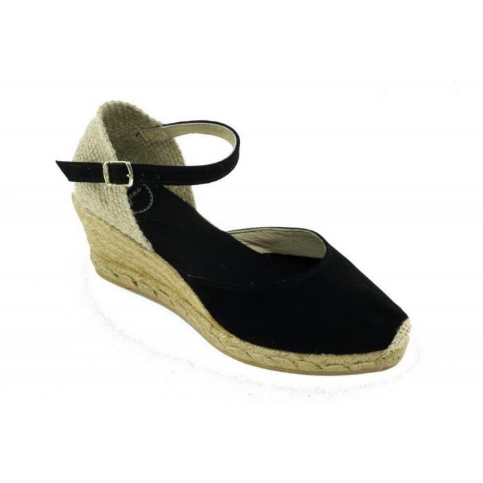 Lloret – Espadrille compensée bride cheville tendance marque Toni PONS chaussures Femme petite pointure tailles cuir noir