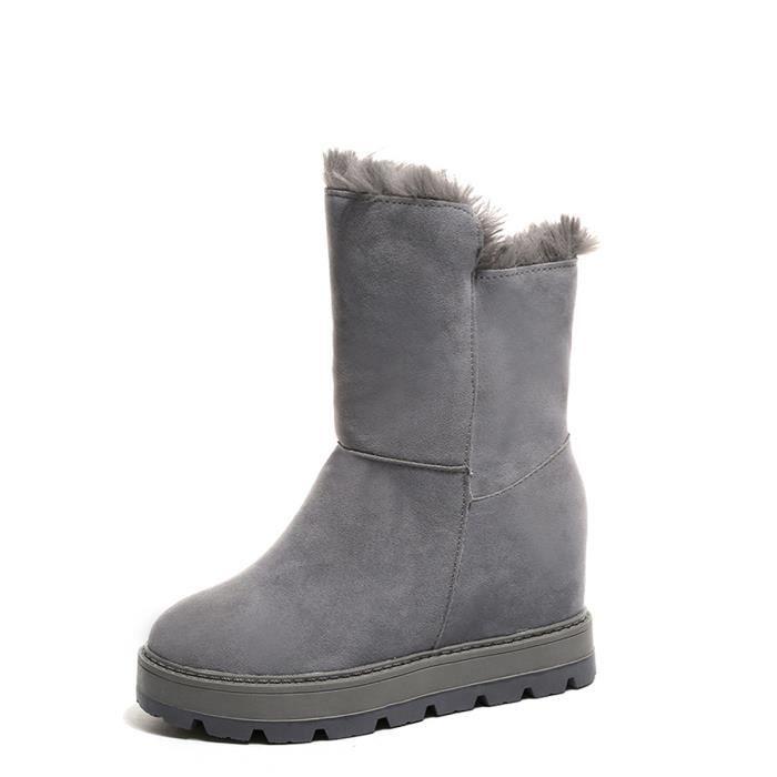 Femmes Bottes de neige intérieure talon Ascenseur solide Couleur semelle épaisse bottes chaudes 9844226 VC8t8kus