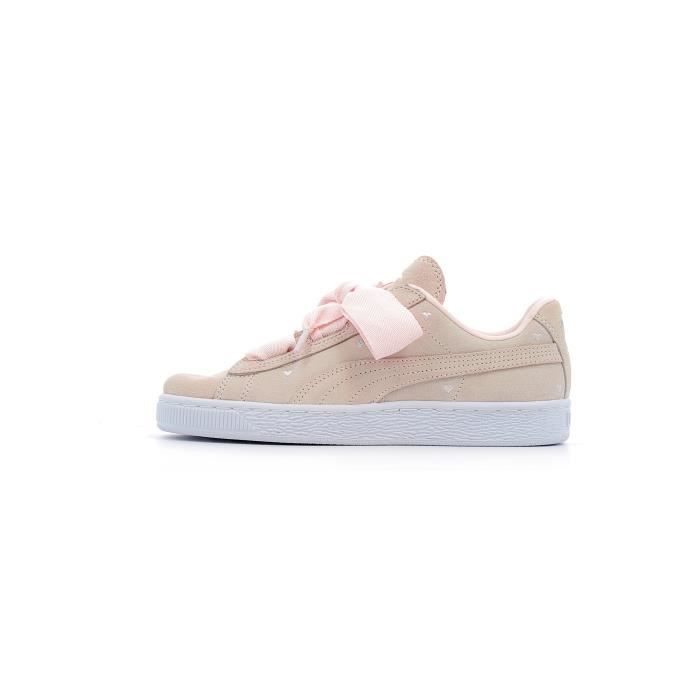 5fe103cdc54bf Baskets basses Puma Suede Heart Valentine Junior Rose Rose - Achat ...