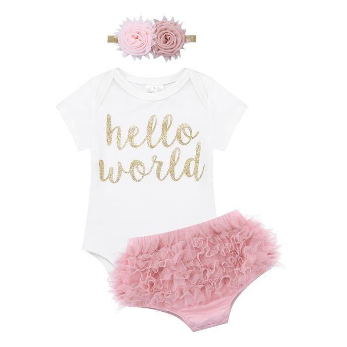 75fce84aaaf5d Ensemble Vêtements Body Bébé Filles pour 6-18 mois - imprimé Hello World  taille élastique + Filles bandeau