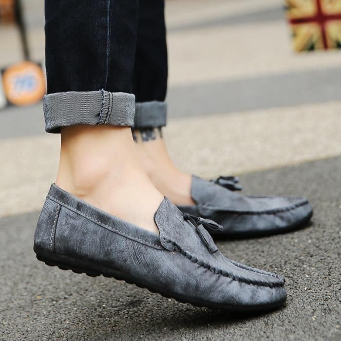 Mode Hommes Respirant Doug Chaussures Corée Fashion Style Mocassins Souliers conduite à lacets,marron,42