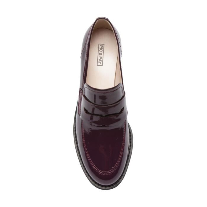Eric - Patent Penny Loafers - Stacked Leather Block Heel Casual Slip-on Flat (new Fall) OWZBA Taille-36