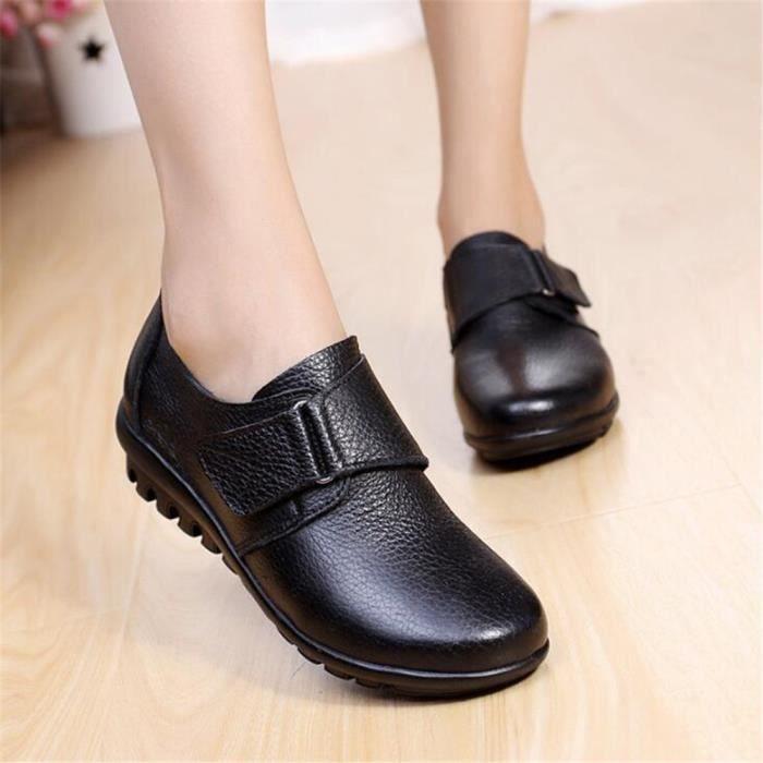 Chaussures Femme Printemps Été Comfortable Cuir Chaussure BLLT-XZ063Noir39