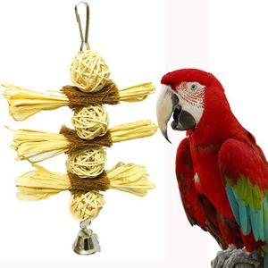 JOUET Oiseau Chew Bite Paille balle Jouets Cage Climb Ba