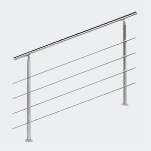 RAMPE - MAIN COURANTE Rampe escalier Acier inoxydable 4 Tiges 140cm Ramb