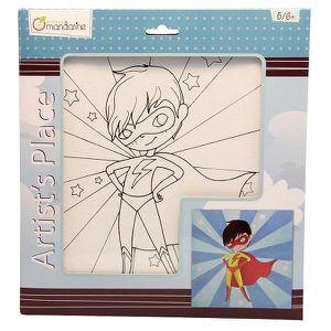 KIT PEINTURE Toile à peindre 25 x 25 cm : Super Boy