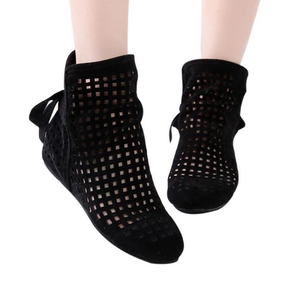 Femmes Bottes plates Bas cachée Wedges Bottines Cutout Chaussures Casual Cute bottillons qinhig5572 Noir Noir - Achat / Vente botte