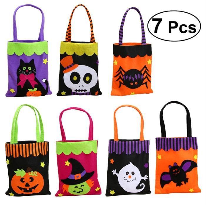 KIT DE DECORATION 7 Pcs Halloween Non-tissé Sac de bonbons Fantôme F