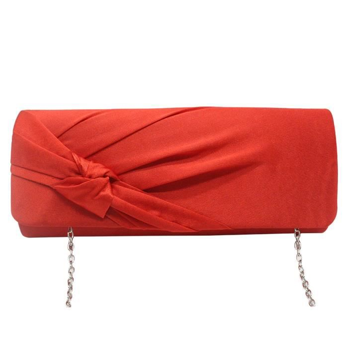 su Flap Bag Red Evening Bow Satin Wedding Clutch Knotted xAzqwBY4