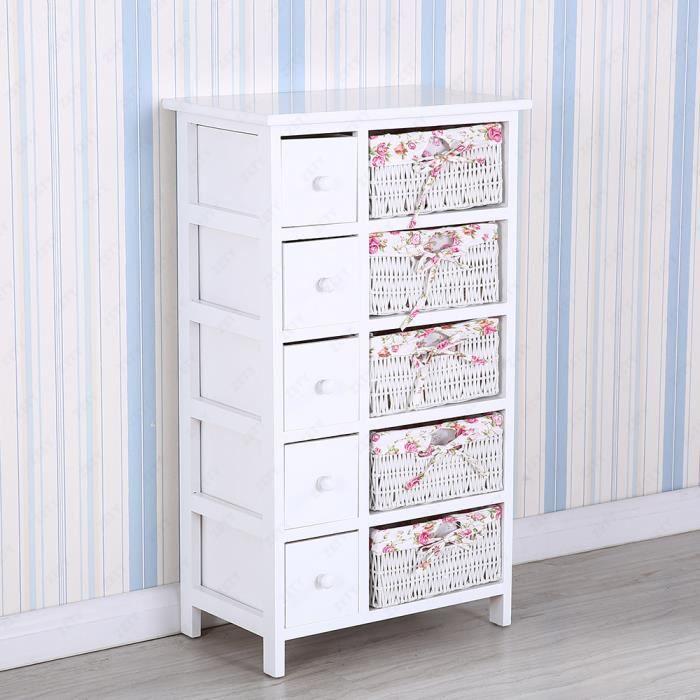 bien commode salle de bain pas cher 15 commode meuble de rangement avec 5 tiroirs bois bl - Commode Salle De Bain Pas Cher