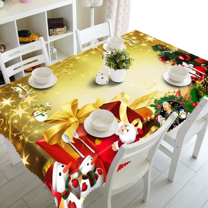 Joyeux Noël Nappe rectangulaire tissu imprimé Party table de ...