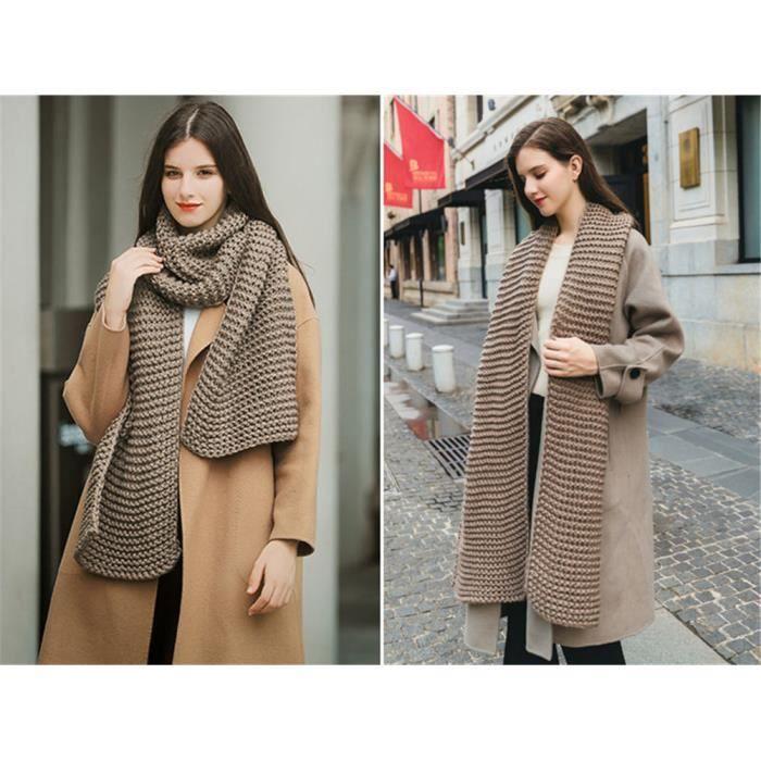 f8643dc99 Longue écharpe marron épaisse tricotée en laine femmes et hommes adultes