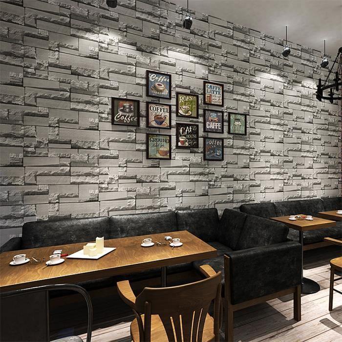 Kinlo® 50M*0.53M Papier Peint 3D Brique Gris Foncé en Intissé Wall ...