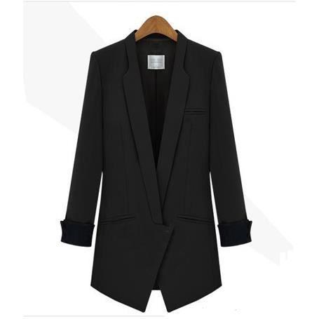 long femme veste blazer femme blouson manteau noir noir achat vente blouson soldes d s le. Black Bedroom Furniture Sets. Home Design Ideas