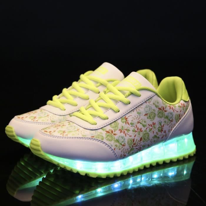 USB de la femme de charge Colorful Fluorescent Sneakers