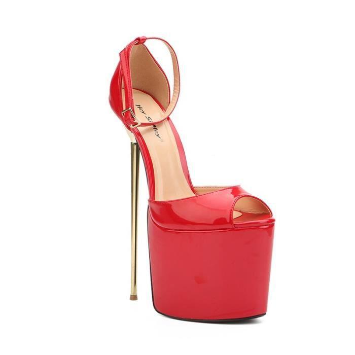 22cm Hauts talons Parti Peep Toe Chaussures talons boucle cheville plate Sandales femme fétichiste Chaussures de grande taille