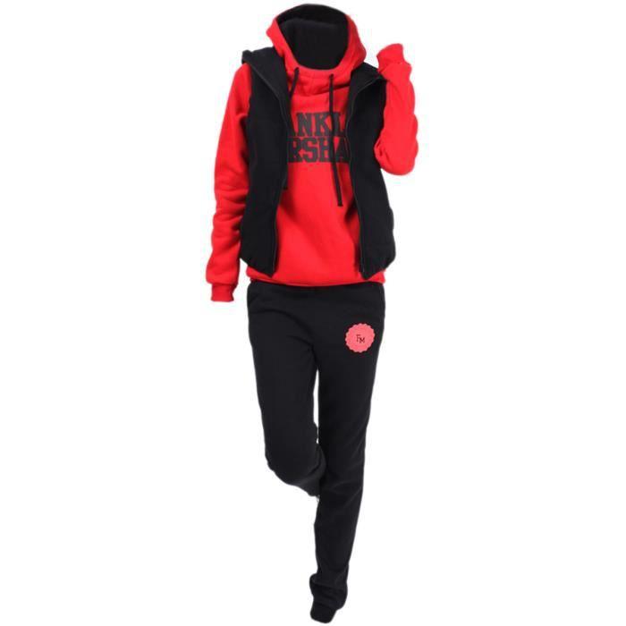 Decontracte Sports avec capuche Manteau+ Veste + Pantalons 3pcs costume  Survetement pour femmes en hiver (Rouge) - L f23ea9d546c