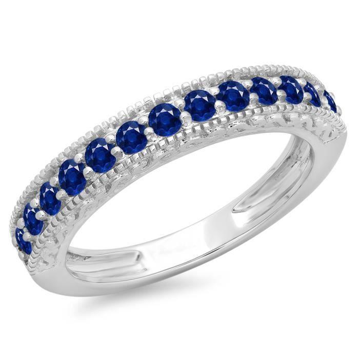 Bague Femme 0.55 ct14 ct 585-1000 Or Blanc BleuSaphirMillgrain Bague Éternité1-2 ct