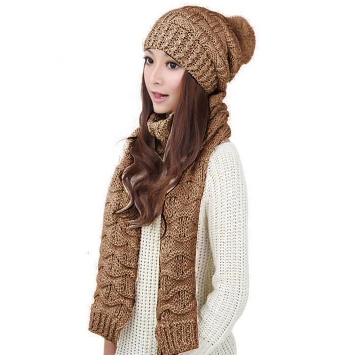 68bbf99e7e6 exquisgift®1set chaudes laine tricot écharpe capuche châle casquettes  costume pour femme~WSS11221113