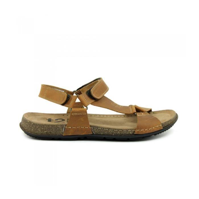 Sandales cuir avec velcros Beige foncé MoWHOANy