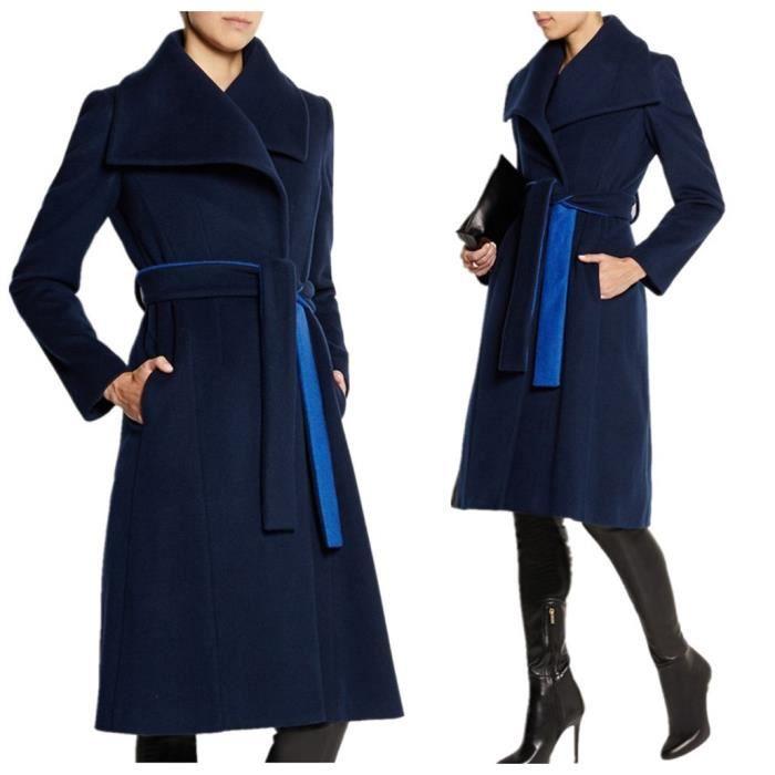 Colorblock Manteau Revers Coat Fashion Parkas Laine xl Long bleu Longues Cachemire Femme Trench En Gros s Lacé vAdqYvFx