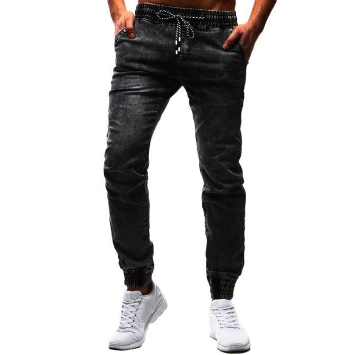 8145bcd9c seasondu Mode pour hommes Casual Vintage élastique Laver Disstressed Denim  Jeans Slim Pantalons