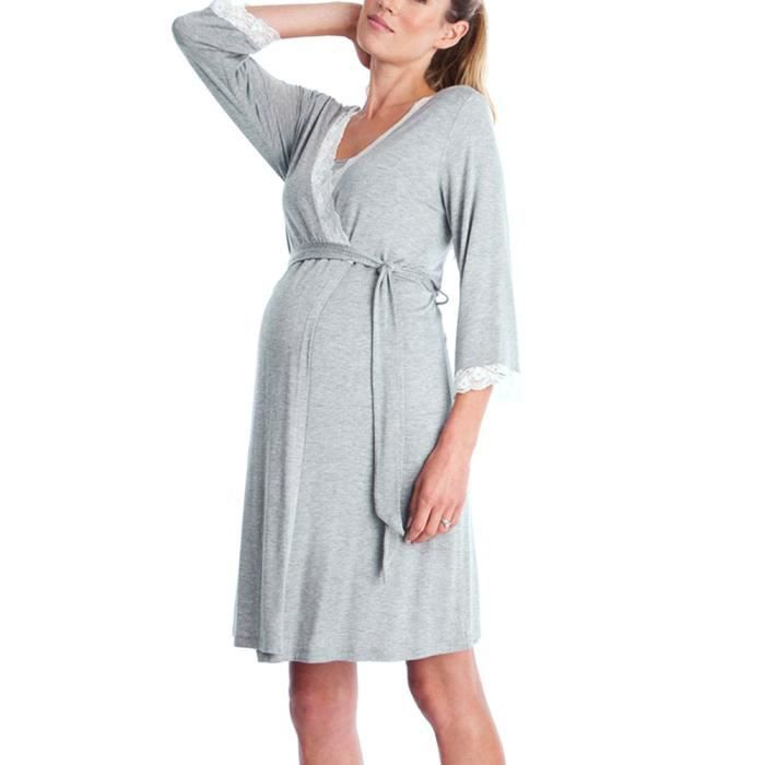De La Casual Gris Infirmière Pyjama Dentelle Dress Rob Nuit Pregnants Maternité Femmes Bébé Pour fRYzTxwqw
