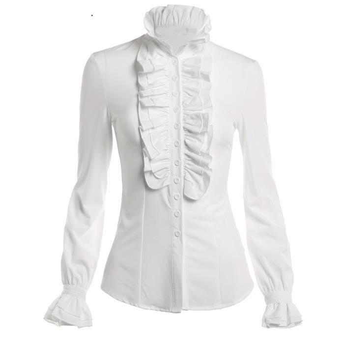 92b735fd0b Victorien vintage Ruffle manches longues Hauts Blouse chemise de la femme  1NHKEE Taille-32