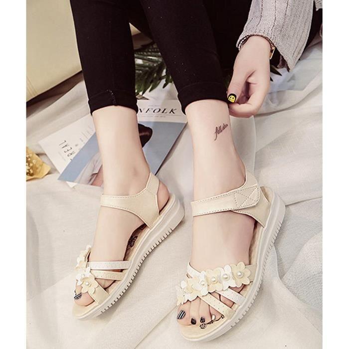 Minetom Enfant Sandales Été Fermé Fille Bout Chaussure Sandales Fleurs Femme Plates Strass Princesse Cuir rAgrHqOw