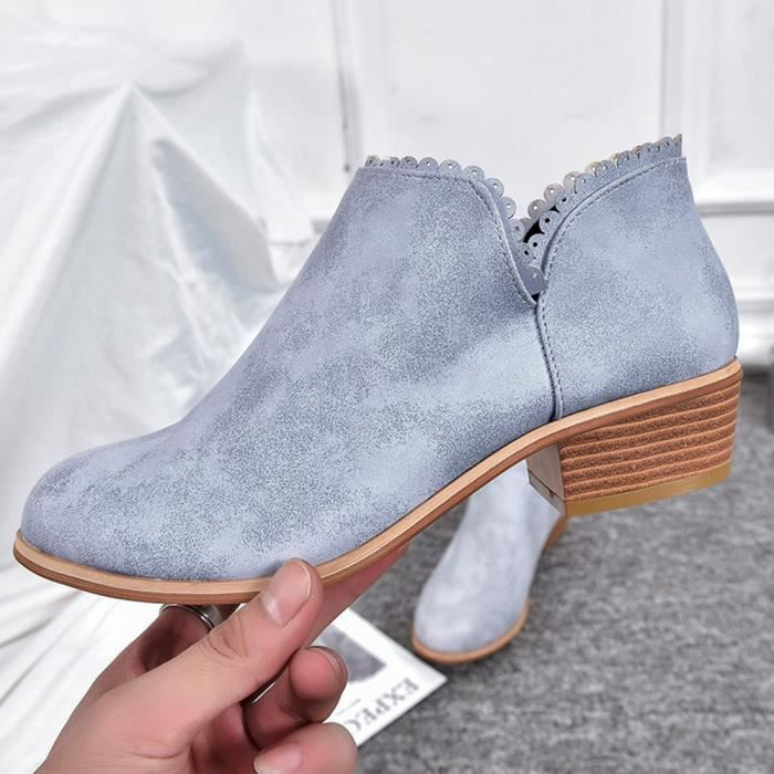 Classique Bout Xyy80822515gy36 Bottes Martin Rond Chaussures Casual Pilerty®mode Bottines Femmes Gris xqAwSEX1