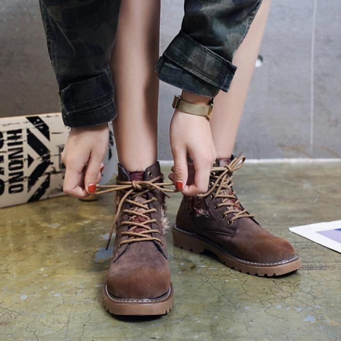 Talon Rétro Martin À Cheville Femmes Bottes Bout Bottesll13089 Sauvages Lacets Rond Chaussures zqH0pp