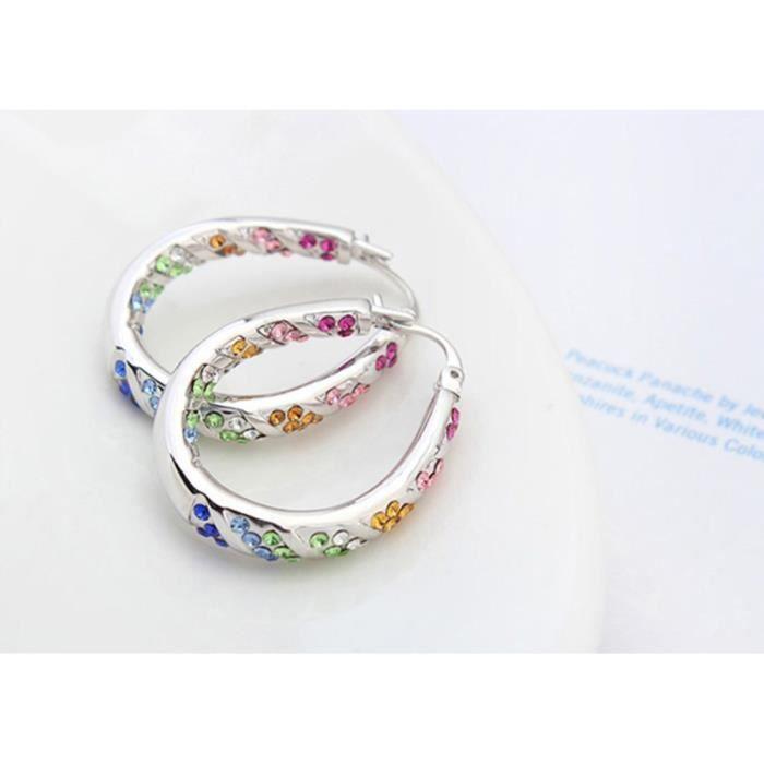 Blanc plaqué or Boucles doreilles ronds avec cristaux Swarovski Elets Femmes SPR8M